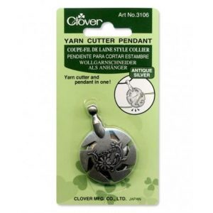 Clover Antique Silver Yarn Cutter Pendant