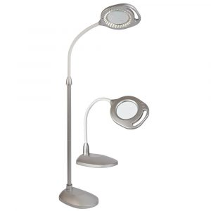 OttLite 2-in-1 LED Magnifier Floor and Table Light Silver