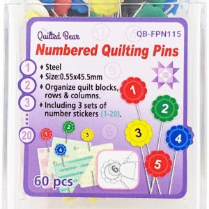 Quilted Bear Flower Head Pins with Numbered Stickers