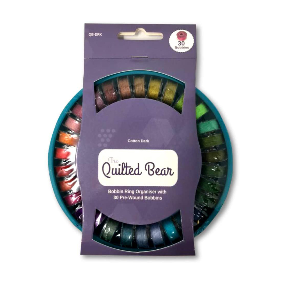 The Quilted Bear Bobbin Ring Organiser with 30 Pre-Wound Bobbins (Dark Threads)