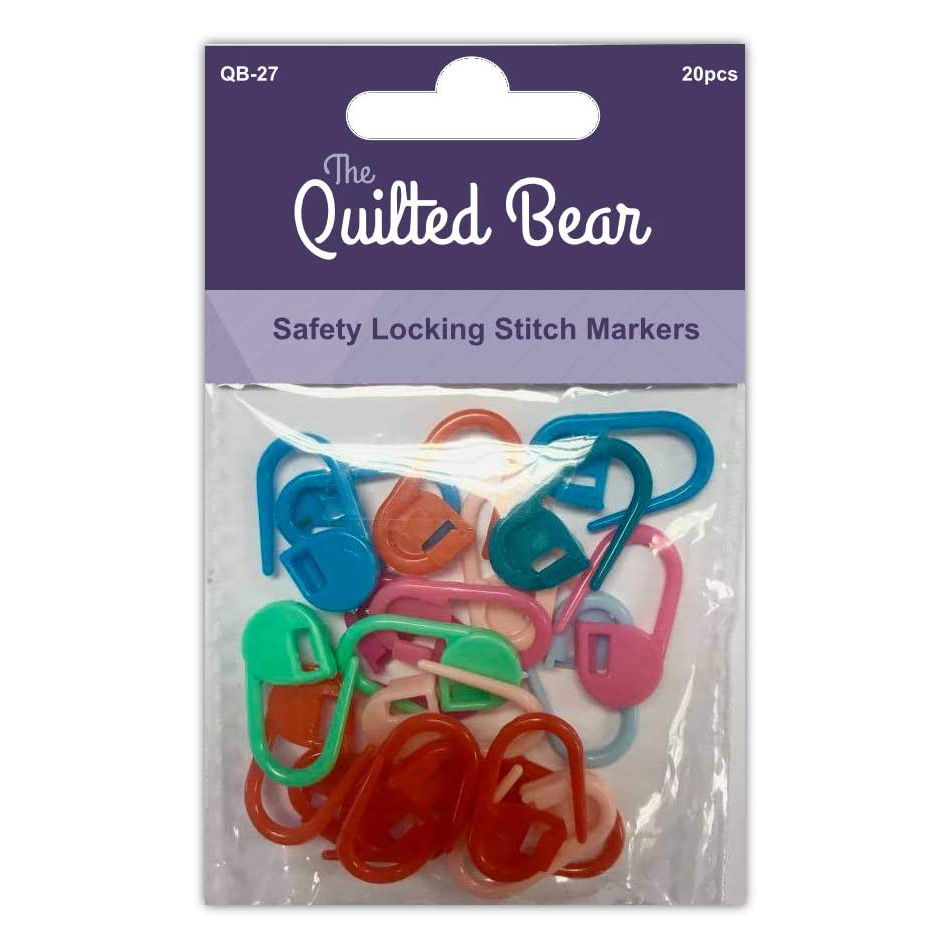The Quilted Bear Safety Locking stitch Markers – 20 Pack